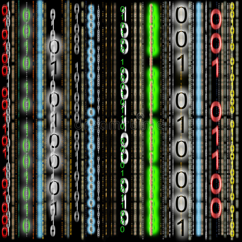 五颜六色背景的二进制代码 库存例证