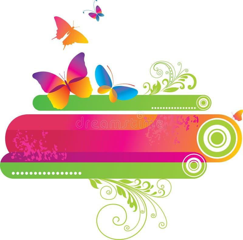 五颜六色背景的蝴蝶 库存例证