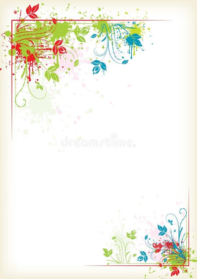 五颜六色花卉框架飞溅 向量例证