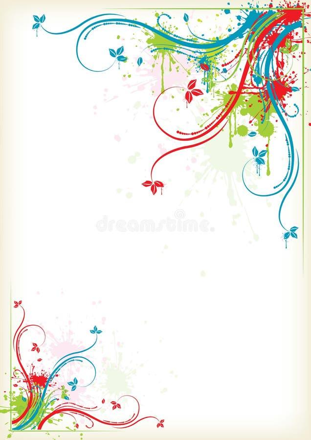 五颜六色花卉框架飞溅 库存例证