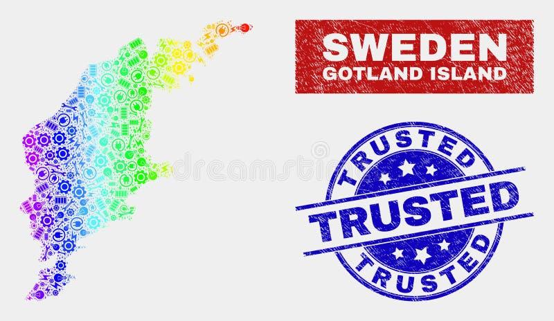 五颜六色装配哥得兰岛海岛地图并且抓了被信任的邮票封印 皇族释放例证