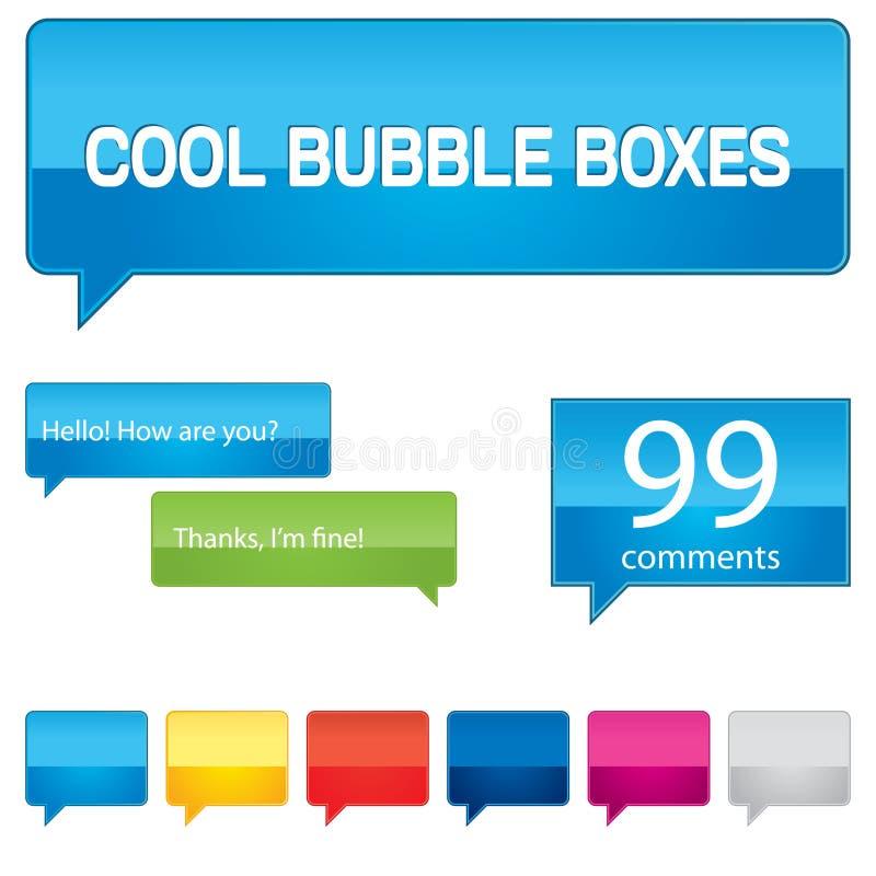 五颜六色配件箱的泡影 向量例证