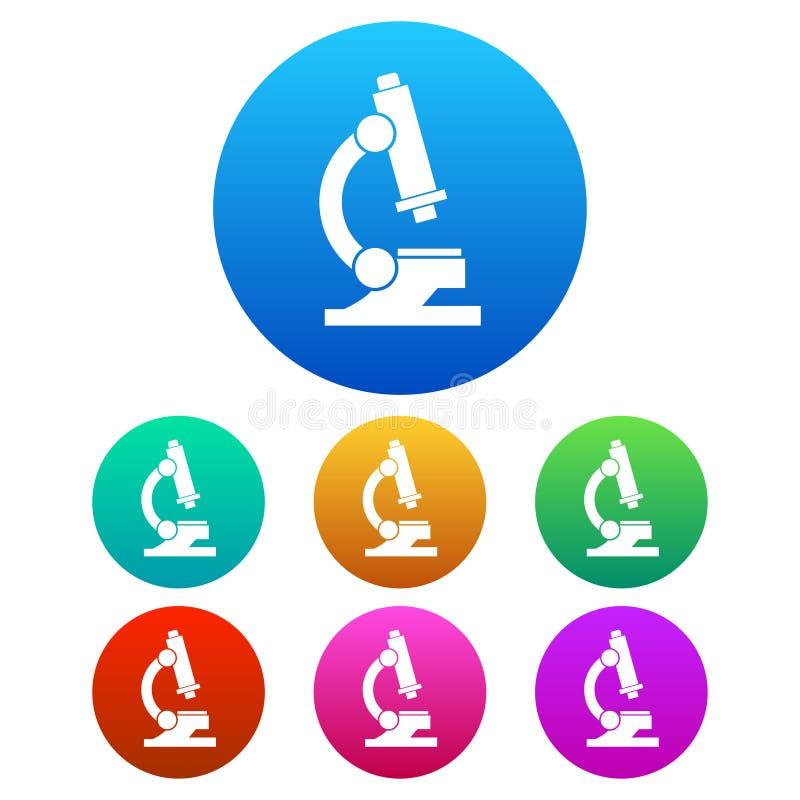 五颜六色,圆,梯度显微镜白色剪影象 皇族释放例证