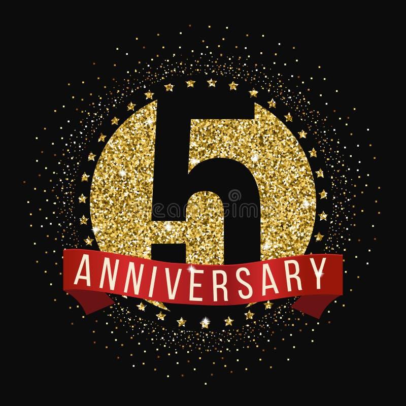 五年周年庆祝略写法 第5个周年商标 库存例证