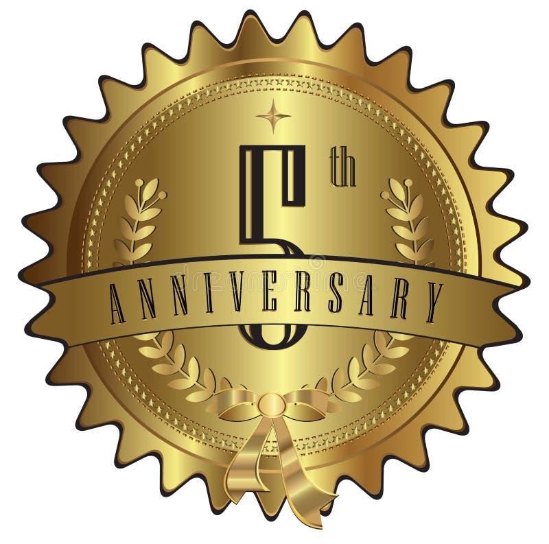 五年金子周年封印标签徽章 库存例证