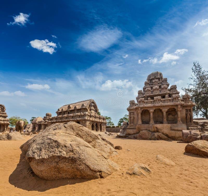 五Rathas。马马拉普拉姆,泰米尔纳德邦,南印度 库存照片