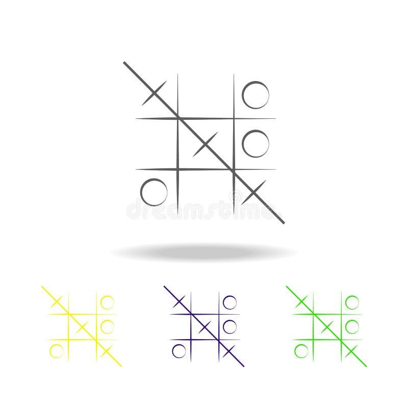 井字游戏比赛上色了象 玩具的元素 能为网,商标,流动应用程序,UI,UX使用 库存例证