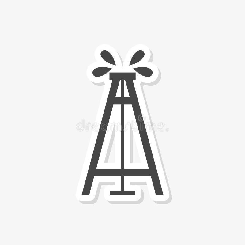 井架纵的沟纹象、塔和产业,抽油装置标志 库存例证