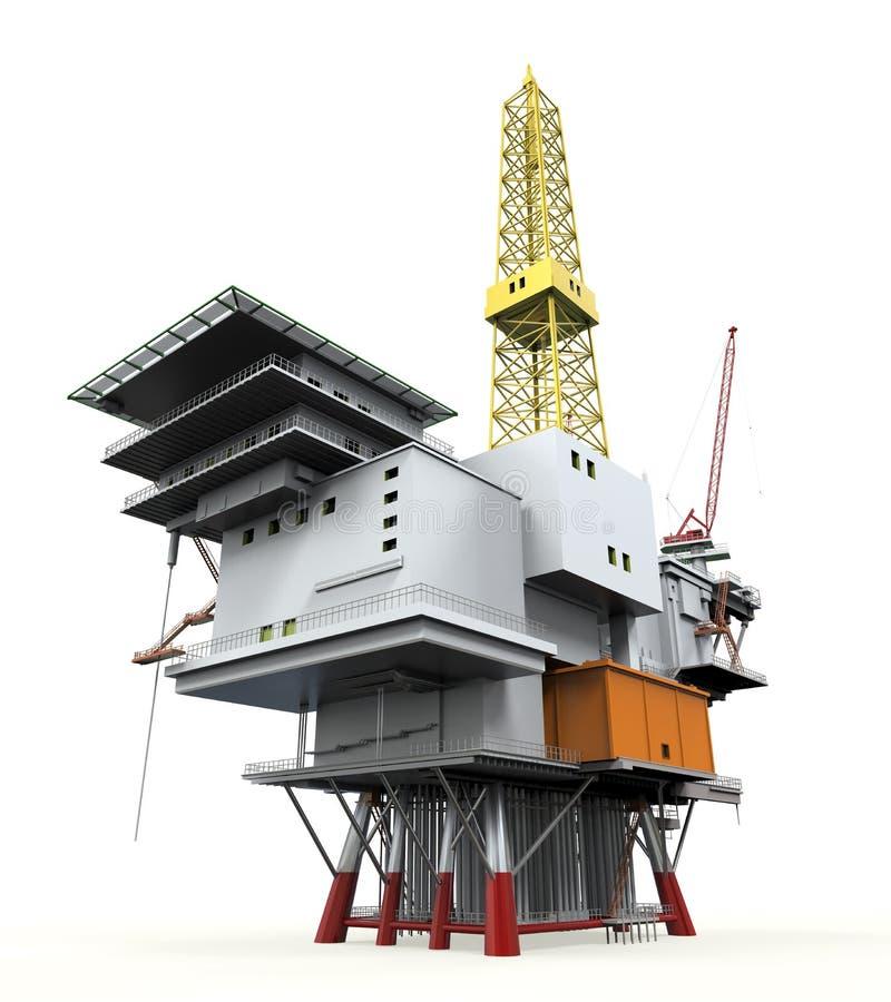 钻井的近海平台抽油装置 库存例证