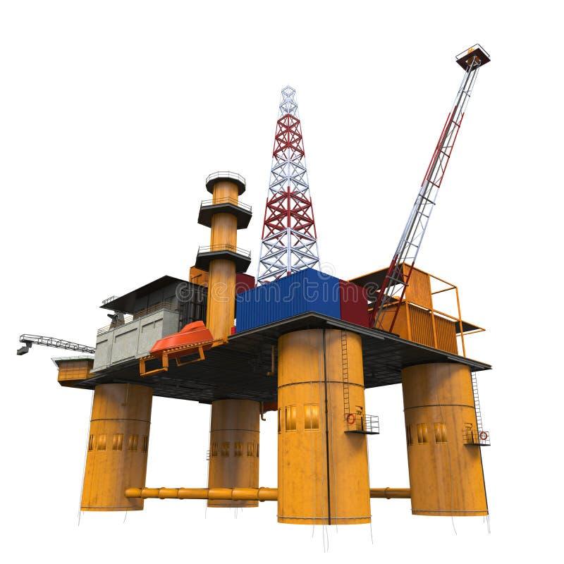 钻井的近海平台抽油装置 免版税库存图片