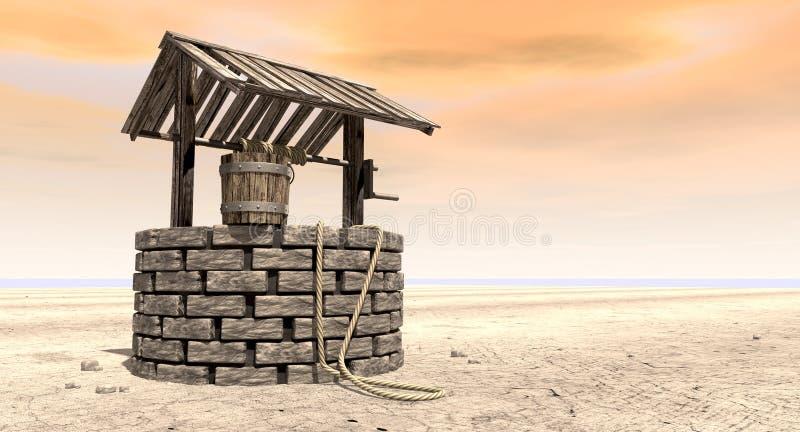 很好祝愿与在一个贫瘠风景的木桶 库存例证