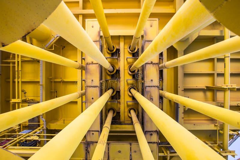 井管壁和好的槽孔在油和煤气遥远的泉源平台 免版税库存图片