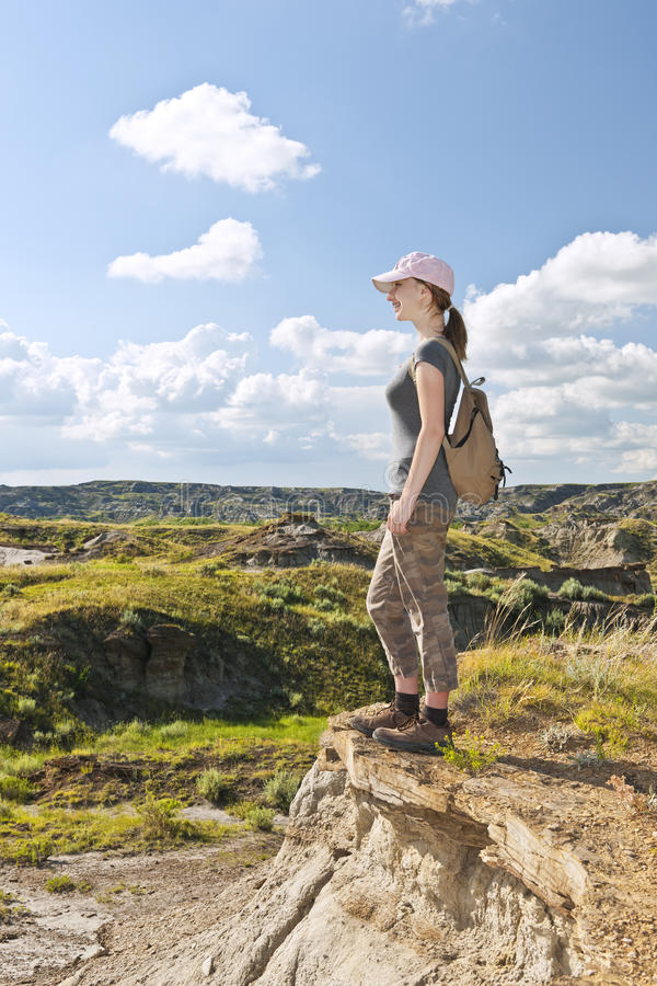 亚伯大荒地加拿大远足者 免版税库存照片