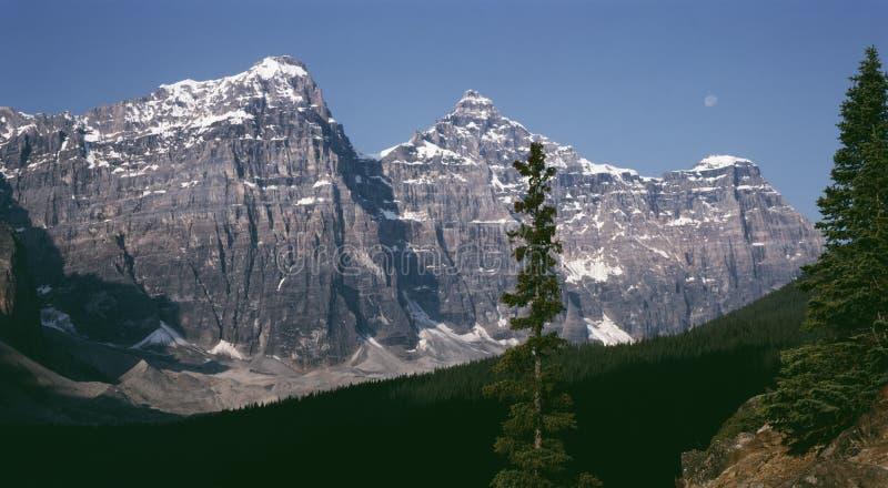 亚伯大banff加拿大岩石月亮的山 免版税库存图片