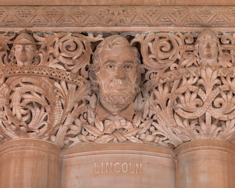 亚伯拉罕・林肯石制品在纽约州国会大厦 库存照片