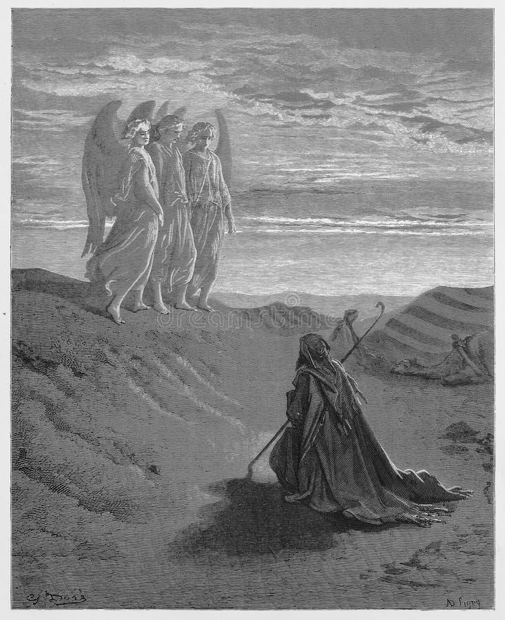 亚伯拉罕和三个天使 库存例证