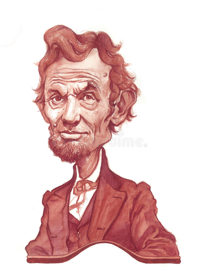 亚伯拉罕讽刺画林肯草图 皇族释放例证