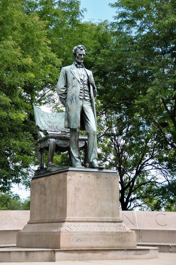 亚伯拉罕・林肯雕象,芝加哥,伊利诺伊,美国 免版税库存照片