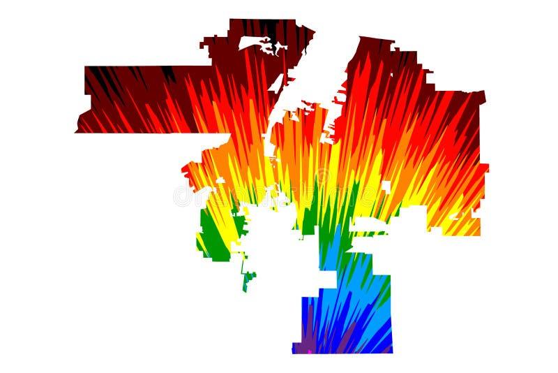 亚伯科基美国,美国,U S 美国,美国城市,美国城市地图是五颜六色被设计的彩虹的摘要 向量例证