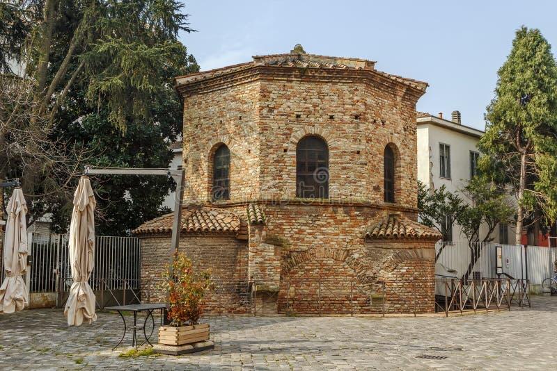 亚利安语系的洗礼池,拉韦纳,意大利 免版税库存图片