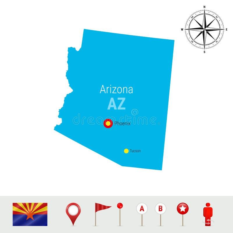 亚利桑那在白色背景隔绝的传染媒介地图 亚利桑那状态高详细的剪影  亚利桑那的正式旗子 库存例证