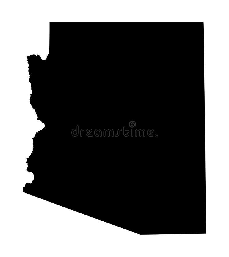 亚利桑那地图剪影 向量例证