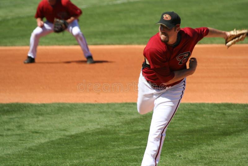 亚利桑那棒球chad菱纹背响尾蛇投手qualls 免版税库存照片