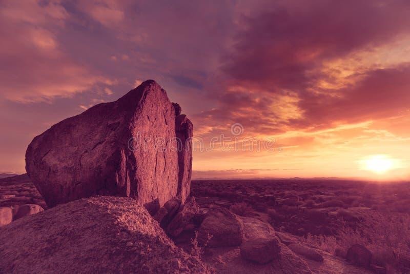亚利桑那沙漠远景,从冰砾的看法 库存图片