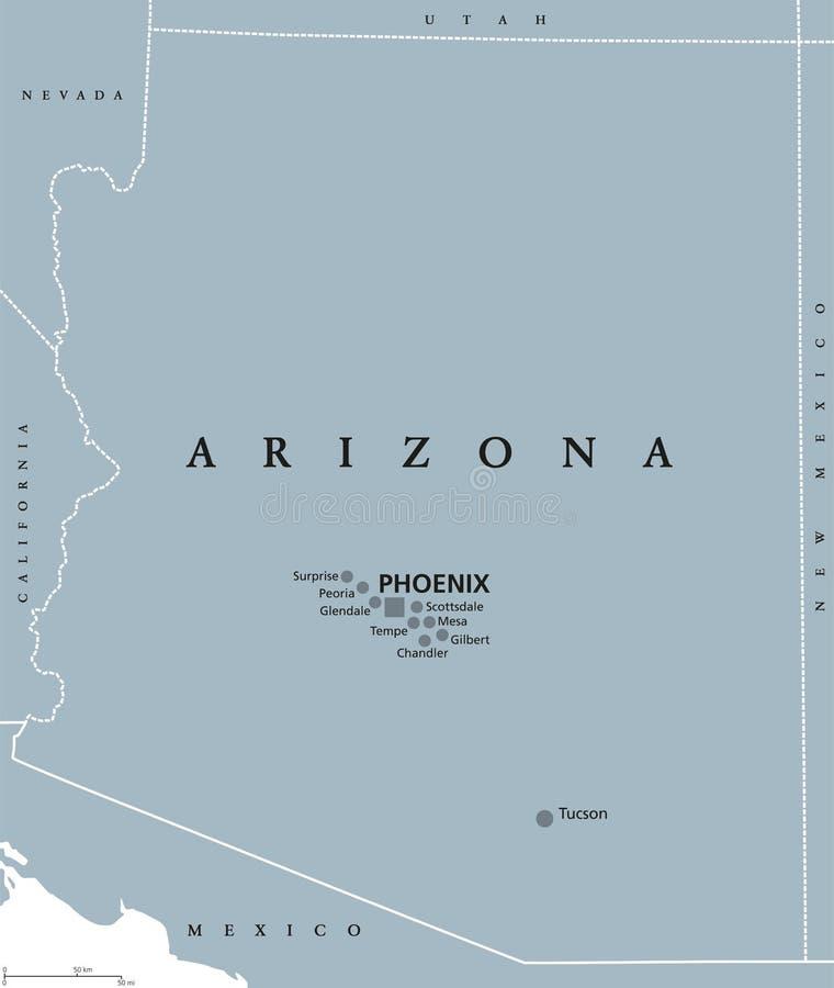亚利桑那美国政治地图 皇族释放例证