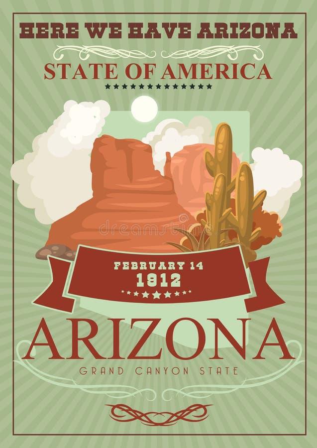 亚利桑那美国旅行横幅 在葡萄酒样式的海报 皇族释放例证