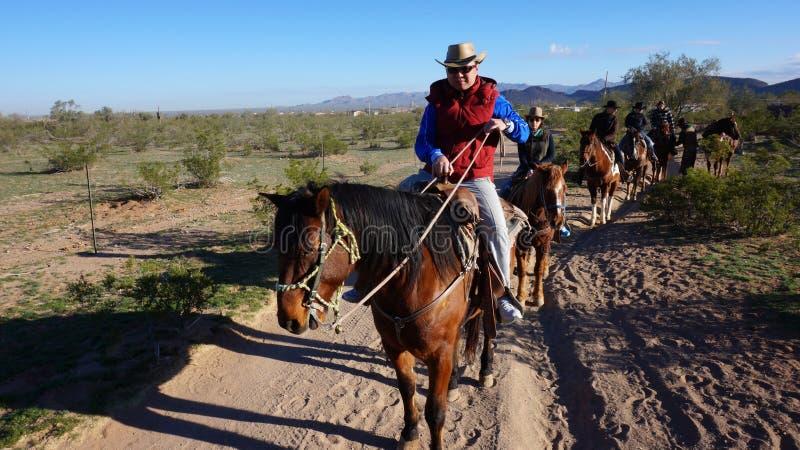 亚利桑那,美国- 2014年2月04日:在hourse ba的访客乘驾 免版税库存照片