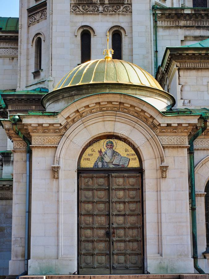 亚历山大・涅夫斯基保加利亚正统大教堂,索非亚,保加利亚细节  库存图片