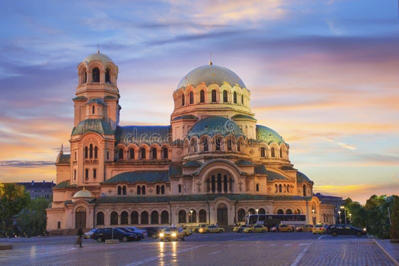 亚历山大・涅夫斯基大教堂的美丽的景色在索非亚,保加利亚 库存照片