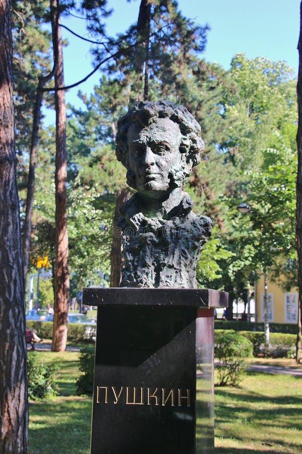 亚历山大・谢尔盖耶维奇・普希金胸象在一个公园在巴尼亚卢卡,波黑 库存图片