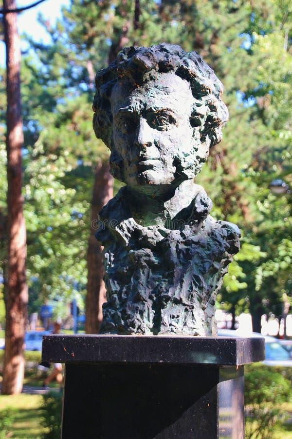 亚历山大・谢尔盖耶维奇・普希金胸象在一个公园在巴尼亚卢卡,波黑 图库摄影