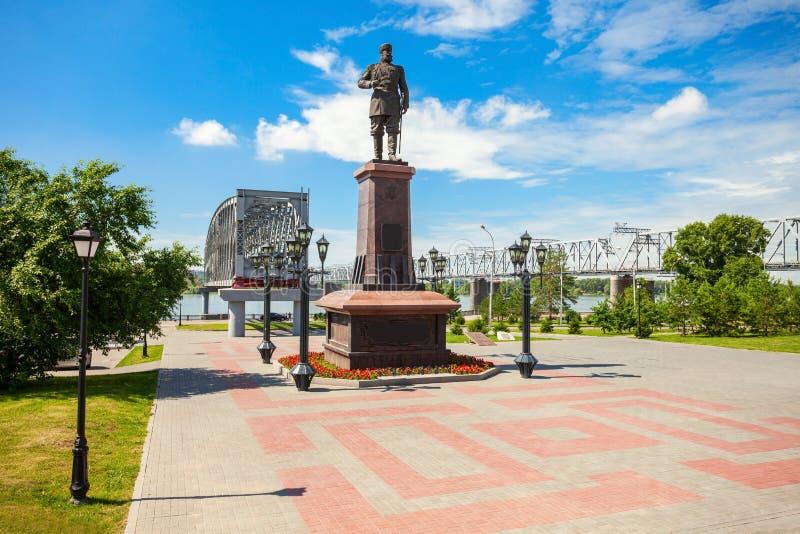 亚历山大三世纪念碑,新西伯利亚 库存照片