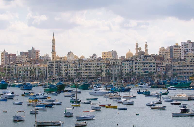 亚历山大埃及港口视图 免版税库存图片
