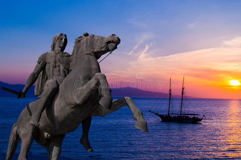 亚历山大大帝雕象塞萨罗尼基市的,希腊 免版税图库摄影
