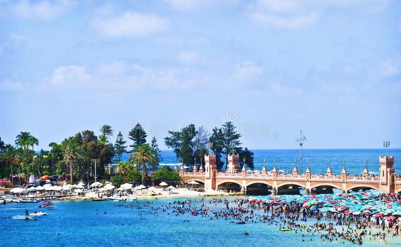 亚历山大海滩埃及 免版税库存图片