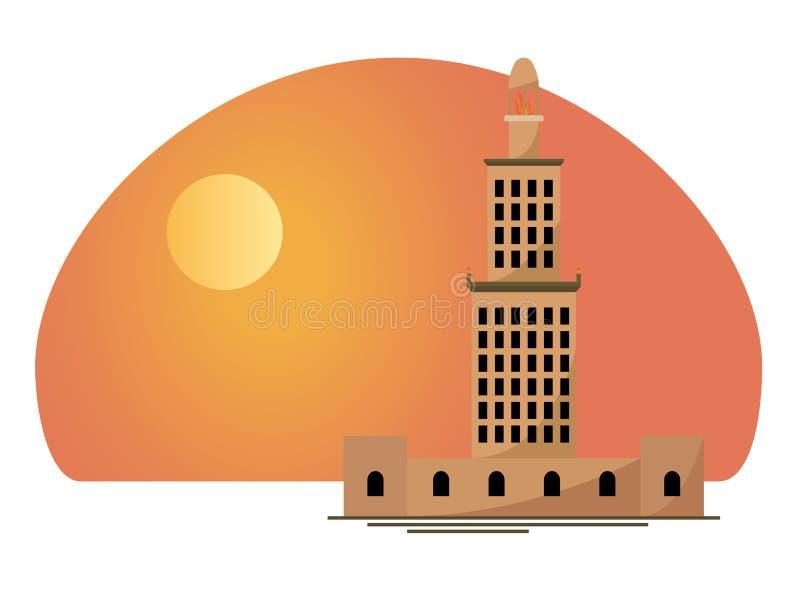 亚历山大灯塔 向量例证
