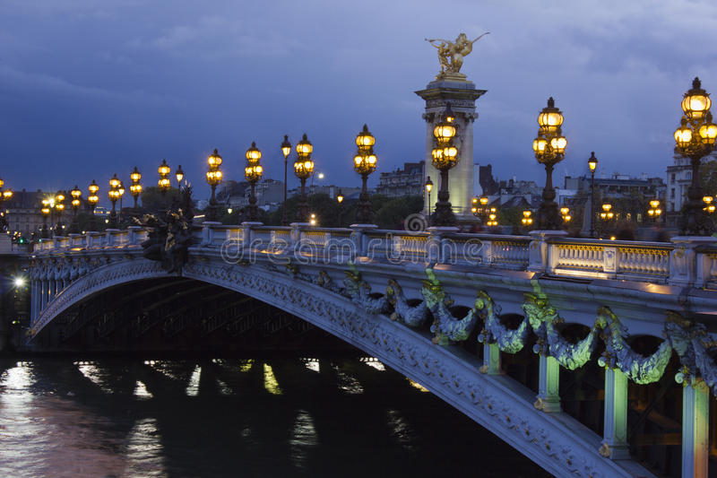 亚历山大第三座桥梁,巴黎 库存图片