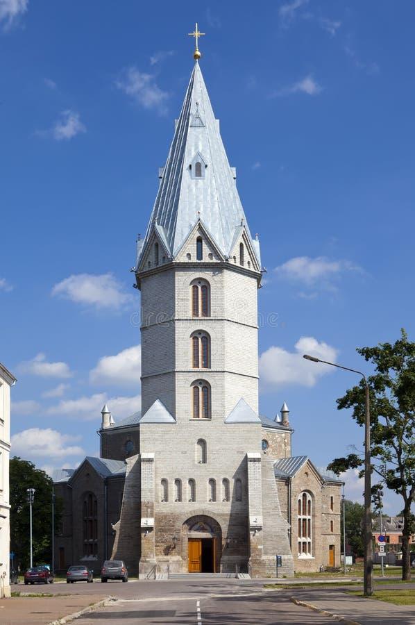 亚历山大路德教会在纳尔瓦,爱沙尼亚 库存照片