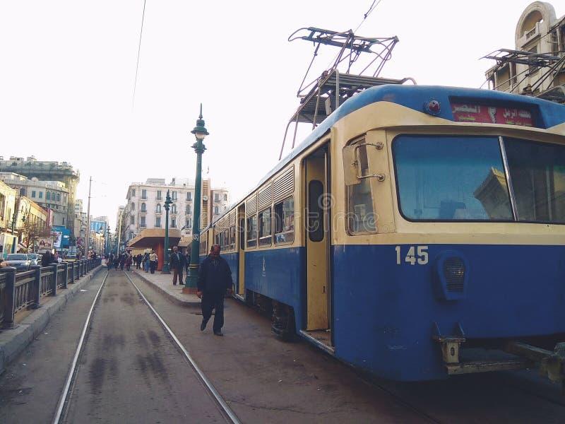 亚历山大,埃及的电车  图库摄影