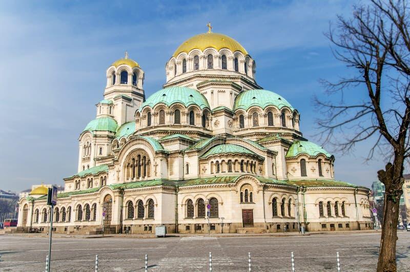 亚历山大涅夫斯基大教堂美丽的景色在索非亚,保加利亚的首都图片