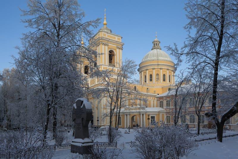 亚历山大・涅夫斯基拉夫拉的三位一体大教堂 圣彼德堡 俄国 免版税库存图片