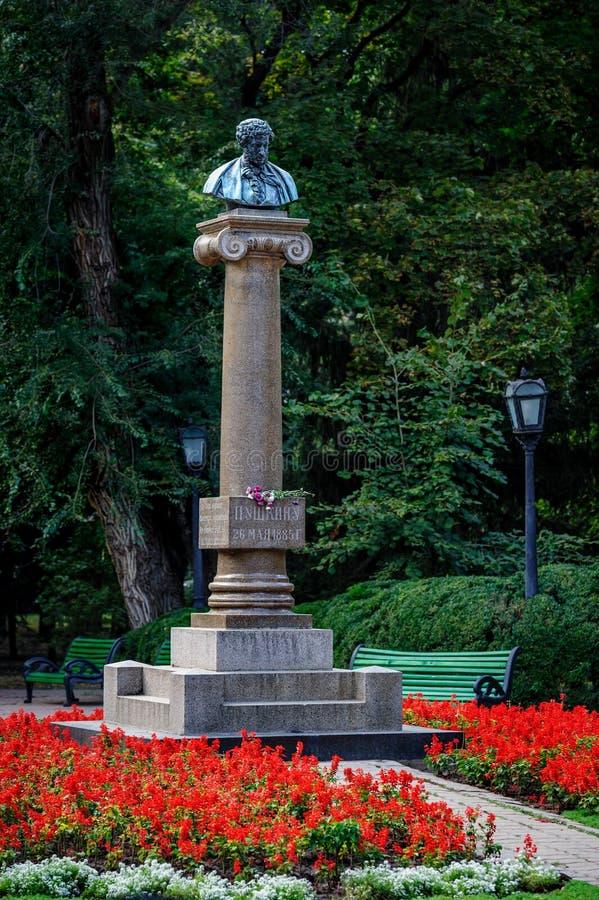 亚历山大・谢尔盖耶维奇・普希金,基希纳乌,摩尔多瓦的纪念碑 图库摄影