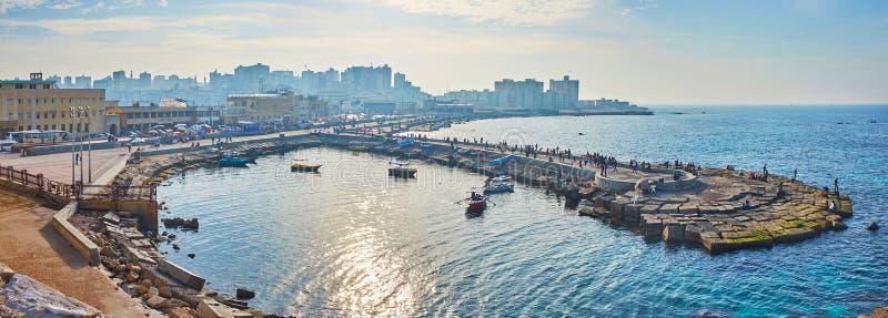 亚历山大` s西部港口,埃及全景  免版税图库摄影