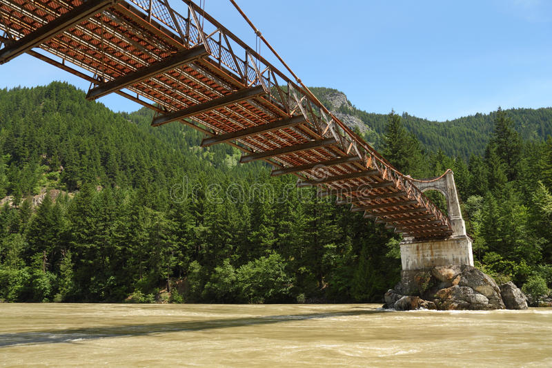 亚历山德拉桥梁横穿fraser有历史的河 库存照片