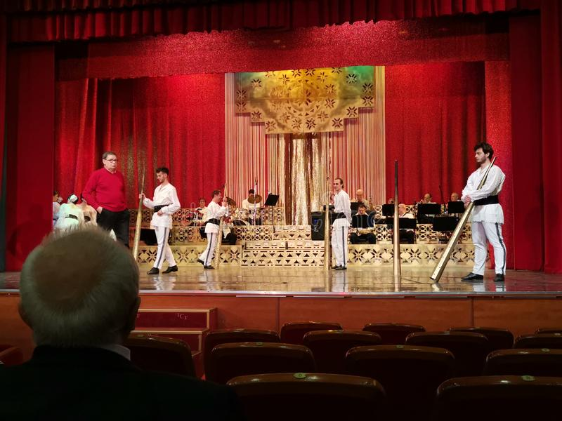 亚历山德鲁在剧院大厅里观看在阶段的Arsinel表现 免版税库存图片