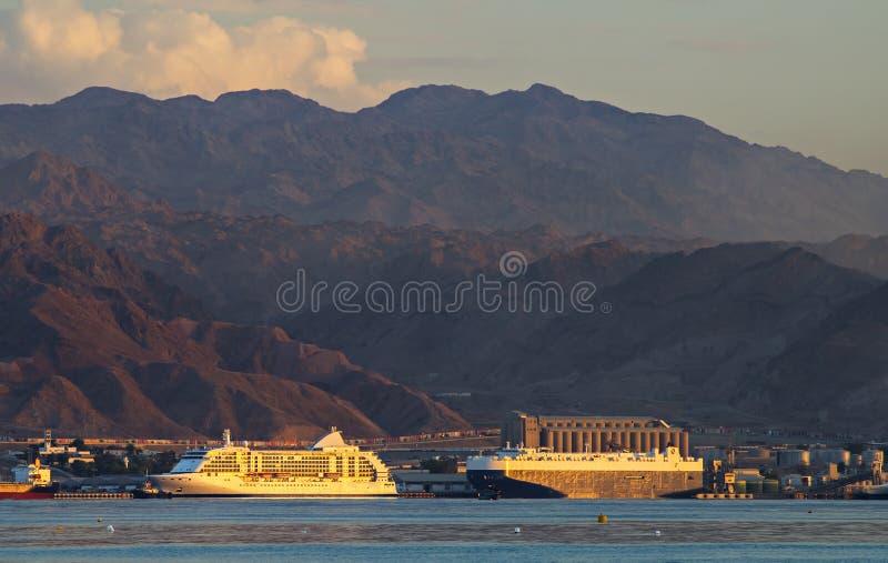 亚喀巴,乔丹海洋港  免版税库存照片